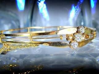 大粒オールドマインカットダイヤ3石と真珠2粒(鑑定書付)【商品番号3366】i