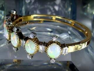 約3.5ctオールドカットダイヤとオパール約10ct(鑑定書付)【商品番号4611】e
