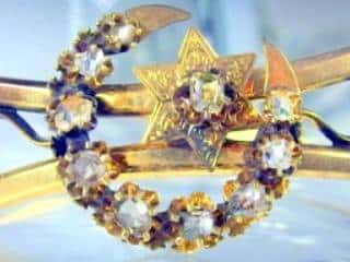 2種のオールドカットダイヤで月と星(フランス刻印)(鑑定書付)【商品番号4680】c
