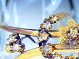 2種のオールドカットダイヤで月と星(フランス刻印)(鑑定書付)【商品番号4680】d