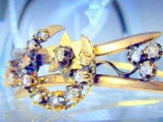 2種のオールドカットダイヤで月と星(フランス刻印)(鑑定書付)【商品番号4680】e