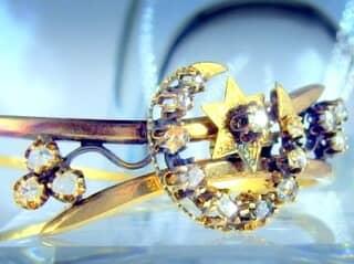 2種のオールドカットダイヤで月と星(フランス刻印)(鑑定書付)【商品番号4680】f