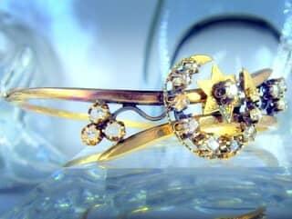 2種のオールドカットダイヤで月と星(フランス刻印)(鑑定書付)【商品番号4680】h