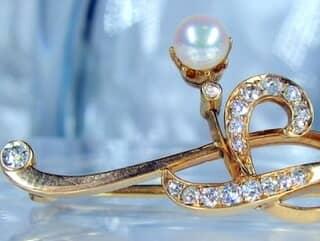 真珠と2種のオールドカットダイヤ16石【商品番号1068a】e