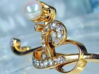 真珠と2種のオールドカットダイヤ16石【商品番号1068a】f