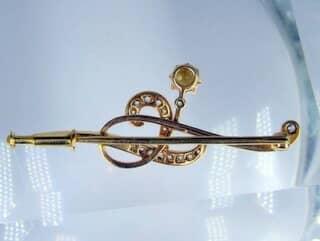真珠と2種のオールドカットダイヤ16石【商品番号1068a】h