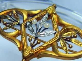 フランス刻印、ダイヤとシードパール【商品番号1090a】g