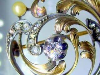 真珠と2種のオールドカットダイヤ32石【商品番号3376】c
