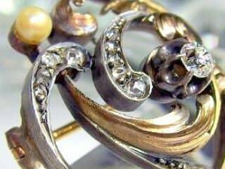 真珠と2種のオールドカットダイヤ32石【商品番号3376】g