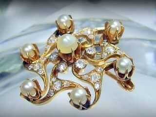 約1ct2種のオールドカットダイヤと真珠(鑑定書付)【商品番号3386】f