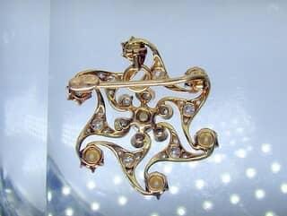 約1ct2種のオールドカットダイヤと真珠(鑑定書付)【商品番号3386】g