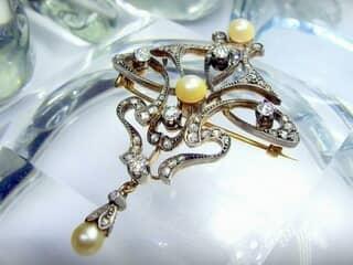 69石オールドダイヤと真珠3粒(鑑定書付)【商品番号4631】f
