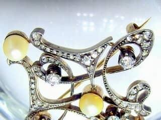 69石オールドダイヤと真珠3粒(鑑定書付)【商品番号4631】i