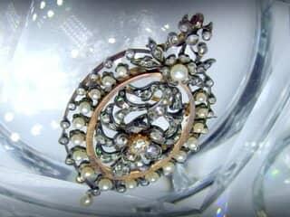 フランス刻印、2種のオールドカットダイヤと天然パール(鑑定書付)【商品番号4704】g