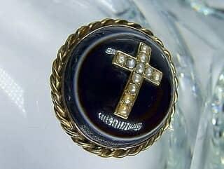 メノウとシードパール11石十字架モチーフ【商品番号531c】h