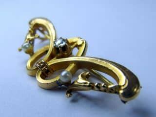 オールドマインカットダイヤと真珠、(百合モチーフ)【商品番号b14】b