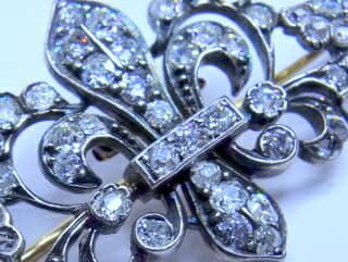2種のオールドダイヤ,ユリの紋章(鑑定書付)【商品番号b31】b