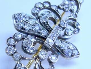 2種のオールドダイヤ,ユリの紋章(鑑定書付)【商品番号b31】g