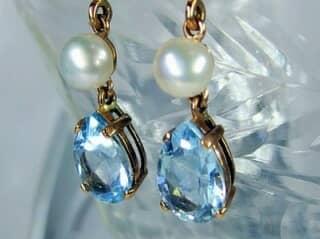 真珠とブルートパーズ(9.5×5.5ミリ)【商品番号008d】b