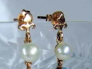 真珠とブルートパーズ(9.5×5.5ミリ)【商品番号008d】c