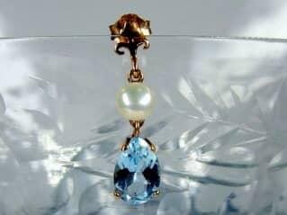 真珠とブルートパーズ(9.5×5.5ミリ)【商品番号008d】d