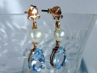真珠とブルートパーズ(9.5×5.5ミリ)【商品番号008d】e