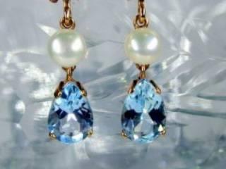 真珠とブルートパーズ(9.5×5.5ミリ)【商品番号008d】g