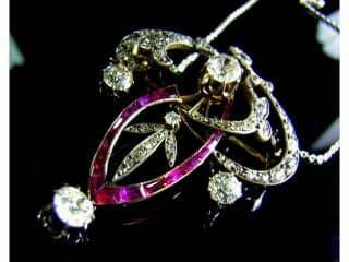 オールドヨーロピアンカットダイヤとカリブレルビー(鑑定書付)【商品番号4323】i
