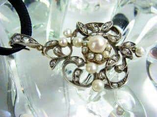 沢山のローズカットダイヤと真珠6粒(鑑定書付)【商品番号3142】h