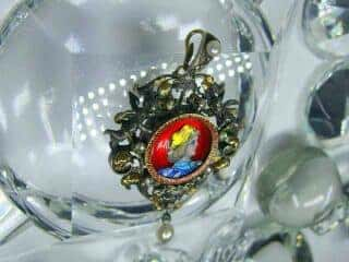 ローズカットダイヤと真珠とリモージュエナメル(鑑定書付)【商品番号4477】e
