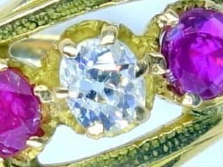 ルビーとオールドマインカットダイヤ【商品番号1058A】c