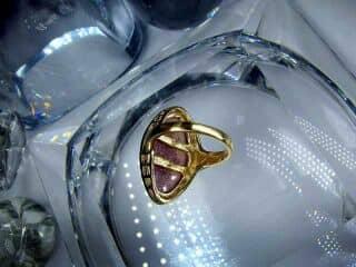 ピンクサファイアとローズカットダイヤ【商品番号1305A】c