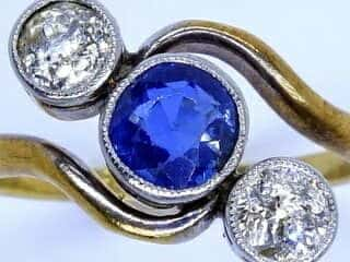2石オールドカットダイヤとサファイア【商品番号1337A】d