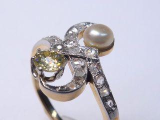2種のオールドカットダイヤと真珠【商品番号1353A】g