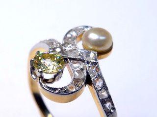 2種のオールドカットダイヤと真珠【商品番号1353A】i