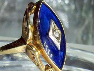 マーキーズカットブルーグラスとダイヤ【商品番号217d】d