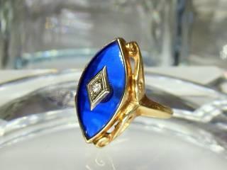 マーキーズカットブルーグラスとダイヤ【商品番号217d】f