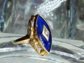 マーキーズカットブルーグラスとダイヤ【商品番号217d】g