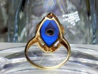 マーキーズカットブルーグラスとダイヤ【商品番号217d】h