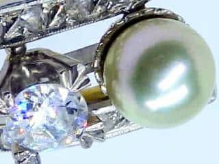 真珠と2種のオールドカットダイヤ(鑑定書付)【商品番号2571A】c