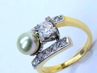 真珠と2種のオールドカットダイヤ(鑑定書付)【商品番号2571A】d
