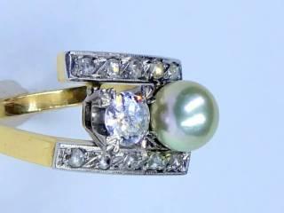 真珠と2種のオールドカットダイヤ(鑑定書付)【商品番号2571A】f
