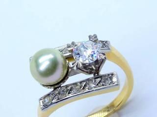 真珠と2種のオールドカットダイヤ(鑑定書付)【商品番号2571A】g