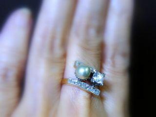 真珠と2種のオールドカットダイヤ(鑑定書付)【商品番号2571A】h