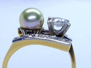真珠と2種のオールドカットダイヤ(鑑定書付)【商品番号2571A】i