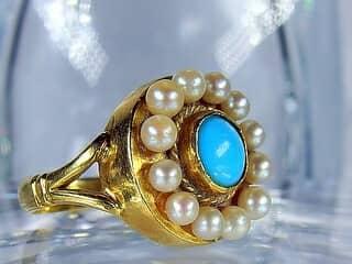 真珠12粒とトルコ石【商品番号424b】c