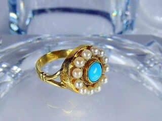 真珠12粒とトルコ石【商品番号424b】e