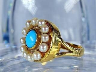 真珠12粒とトルコ石【商品番号424b】g