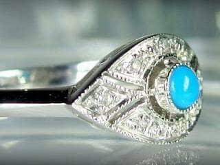 ダイヤとトルコ石を使用した【商品番号506c】f