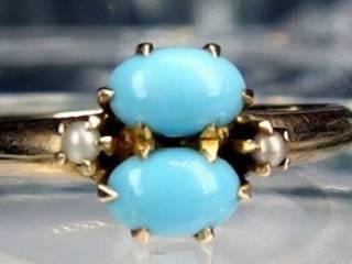オーバルトルコ石と真珠2粒【商品番号933c】c